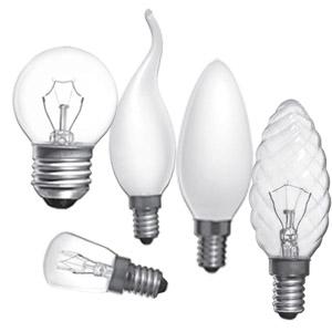 Разные виды колб ламп накаливания