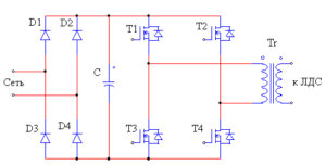 Упрощенная схема электропускового устройства