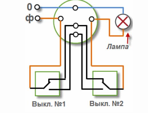 схема переключателя со светодиодом