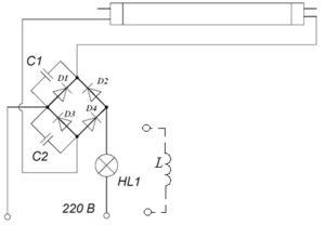 Схема подключения лампы без дросселя