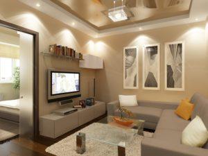 Точечные светильники в гостиной с телевизором