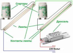 Элементная схема подключения лампы дневного света