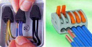 Соединение проводов с помощью клемника WAGO