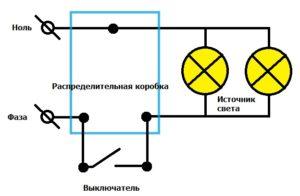 Схема подключения одноклавишного выключателя к двум лампочкам