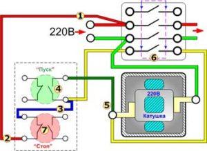 Схема включения электродвигателя через магнитный пускатель