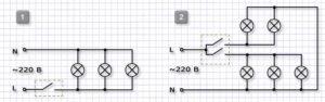 Схема подключения люстры к одноклавишному и двухклавишному выключателю