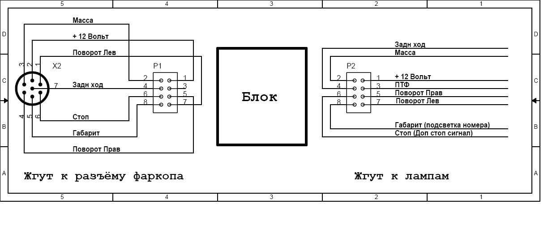 Схема подключения световой индикации на прицепе через блок согласования