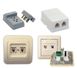 Телефонные розетки для скрытой и открытой проводки