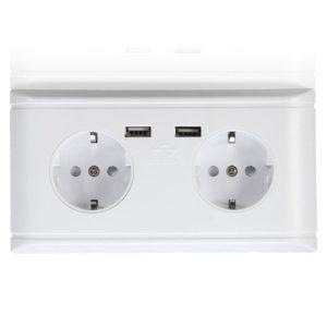 Двойная электро розетка и USB-розетка