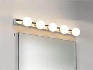 Расположение светильников сверху над зеркалом