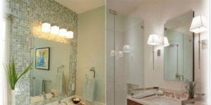 Размещение настенных светильников в ванной
