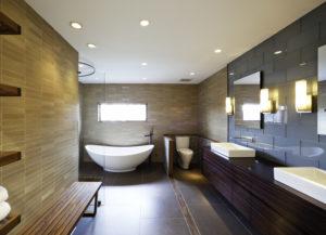 Точечные светильники хорошо смотрятся на потолке ванной комнаты
