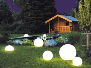 Светильники в виде шаров на газоне