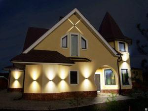 Подсветка дома осветительными прожекторами