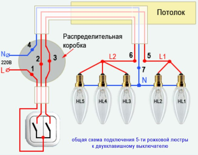 Электрическая схема подключения люстры фото 745