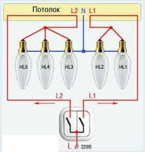 Схема пятирожковый люстры