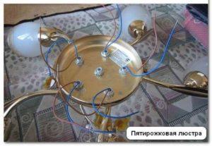 Устройство пятирожковой люстры