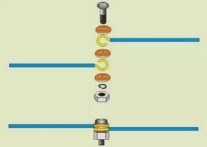 Соединение проводов с помощью болта