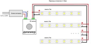 Схема подключения LED лент через драйвер и диммер