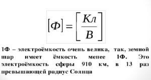 единицей измерения электрической емкости конденсатора является фарада