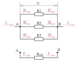 Сопротивление цепи при параллельном соединении